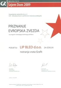 """Picture of 1. Preis """"der Europäische Stern 2009"""" für unseren Multifunktionsflügel und -zarge (Ahorn Grafit)."""