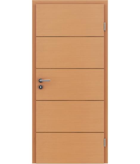 Furnierte Innentür mit einer Kombination aus längs- und/oder querverlaufenden Strukturen VIVACEline – F11 Buche Einlage Nussbaum