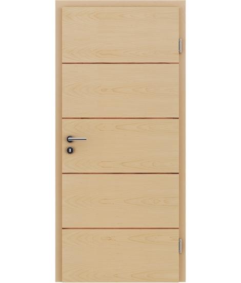 Furnierte Innentür mit einer Kombination aus längs- und/oder querverlaufenden Strukturen VIVACEline – F11 Ahorn Einlage indischer Apfelbaum