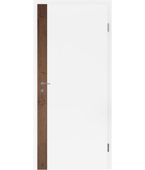 Weißlackierte Innentür mit Furniereinlage und Rillenfräsung BELLAline – F5R33L weißlackiert, Einlage Nussbaum