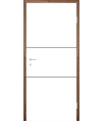 Weißlackierte Innentür mit Rillenfräsungen COLORline – MODENA R11L