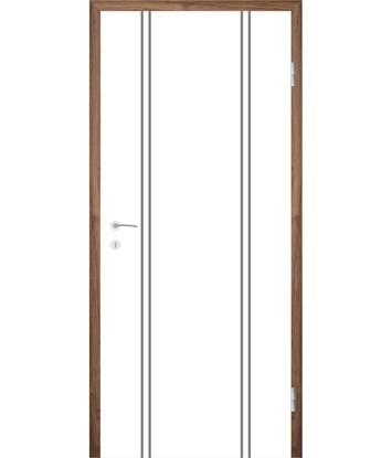 Weißlackierte Innentür mit Rillenfräsungen COLORline – MODENA R12L