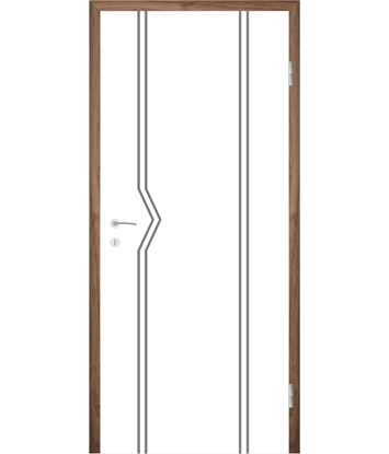 Picture of Weißlackierte Innentür mit Rillenfräsungen COLORline – MODENA R13L