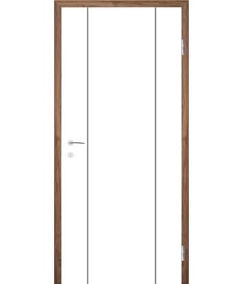 Weißlackierte Innentür mit Rillenfräsungen COLORline – MODENA R15L