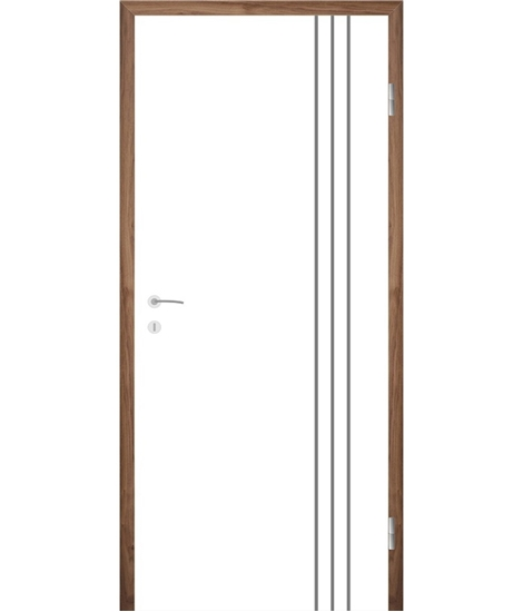 Weißlackierte Innentür mit Rillenfräsungen COLORline – MODENA R36L
