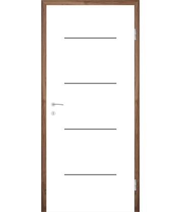 Weißlackierte Innentür mit Rillenfräsungen COLORline – MODENA R7L