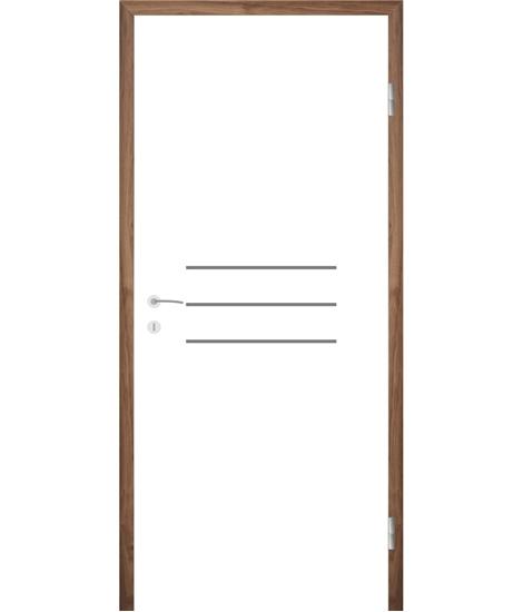 Weißlackierte Innentür mit Rillenfräsungen COLORline – MODENA R8L