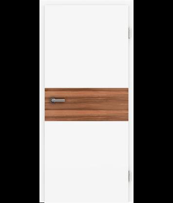 Picture of Weißlackierte Innentür mit Furniereinlage und RillenfräsungBELLAline – I39R72L weißlackiert, Einlage indischer Apfelbaum