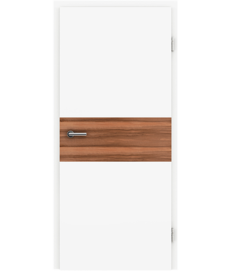 Weißlackierte Innentür mit Furniereinlage und RillenfräsungBELLAline – I39R72L weißlackiert, Einlage indischer Apfelbaum