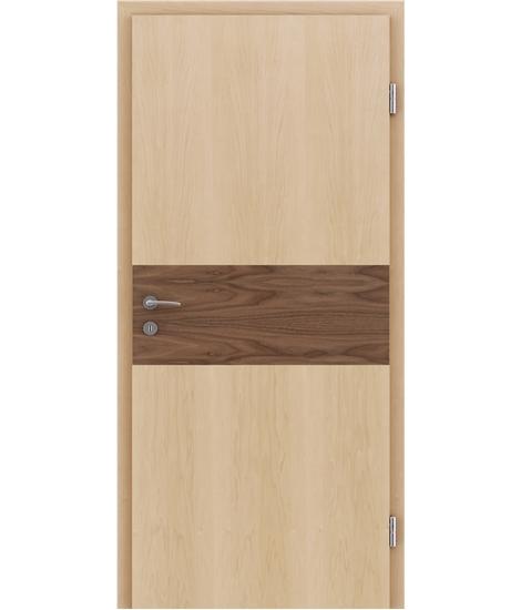 Furnierte Innentür mit Intarsieneinlagen HIGHline – I39 Ahorn, Einlage Nussbaum